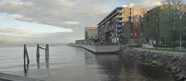 Lysaker Brygge. Nytt boligområde der Fina-tankene lå.