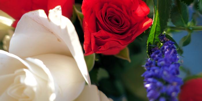Rødt, hvitt og blått fungerer bra sammen i blomsterbukett også.