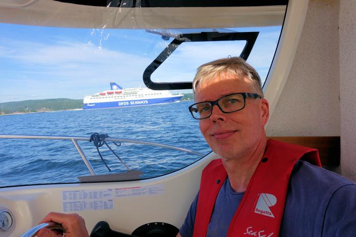 En selfie av meg og danskebåten.